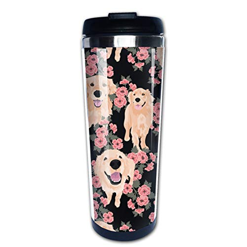 Golden Retriever Dog Lovers Gift for Men Women Kids Birthday Christmas Holiday , Travel Mug Tumbler With Lids Thermos Coffee Cup Vacuum Insulated Flask Stainless Steel Hydro Water Bottle 15 oz