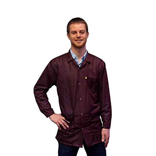 StaticTek Full Sleeve Snap Cuff ESD Jacket | Anti-Static Lab Coat | Certified Level 3 Static Shielding | Light Weight | ESD Smocks with High ESD Protection | XL | Maroon | TT_JKC9025SPMR