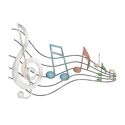 CAPRILO. Adorno Pared Decorativo de Metal Notas Musicales con Pentagrama. Cuadros y Apliques. Música. Muebles Auxiliares. Decoración Hogar. Regalos Originales. 45 x 3,50 x 67 cm.