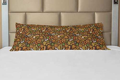 ABAKUHAUS alemán Funda para Almohada de Apoyo, El lúpulo y Pretzels Hand Drawn, Decorativa Fácil de Colocar Práctica Lavable, 53 x 137 cm, Multicolor