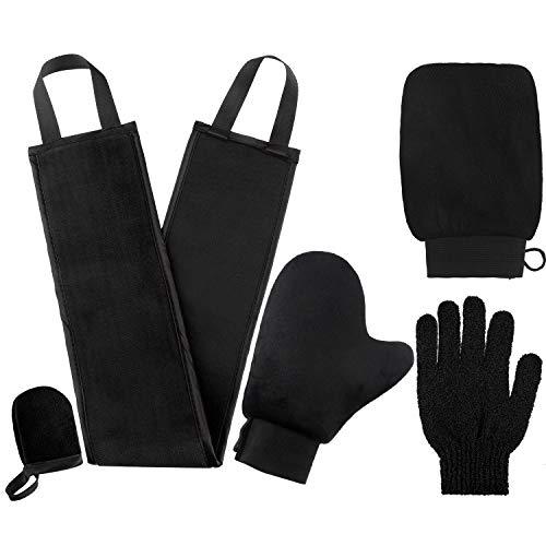 5 Pièces Auto-Applicateur Applicateur de Mitaine de Bronzage Gants Exfoliants Applicateurs de Bronzage de Dos Mitaines de Bronzage de Visage (Noir)