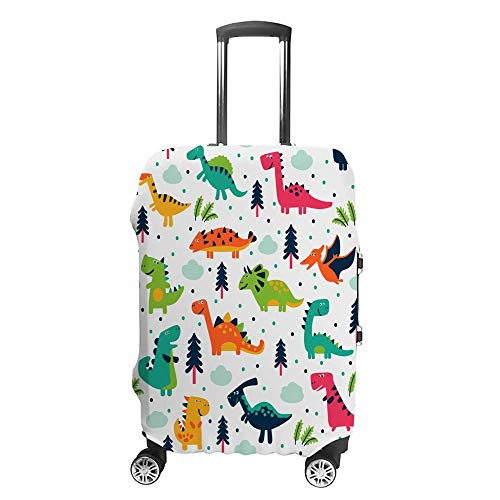 Cubierta de equipaje gruesa lavable, linda interesante de dibujos animados dinosaurio de poliéster de fibra elástica, plegable, ligera, protector de maleta de viaje