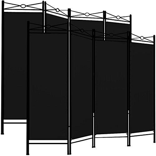 Deuba 2X Paravent Lucca 180x163cm 4 Trennwände flexibel verstellbar Raumteiler Sichtschutz platzsparend & multifunktional schwarz