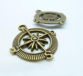 "20PCs Silver Tone Compass Charm Pendants 30x25mm 1-1//8/""x1/"""