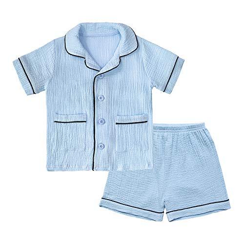 BINIDUCKLING Unisex Baby Sleepwear, Toddler Boy 2 Piece Pajamas Set Kid Cotton Sleep Shirt and Shorts Blue 4T