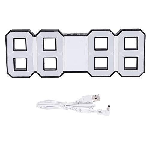 HERCHR Reloj de Pared Digital Grande, Reloj Despertador de repetición de Reloj de Mesa LED 3D con decoración del hogar de Concha Negra(Azul)