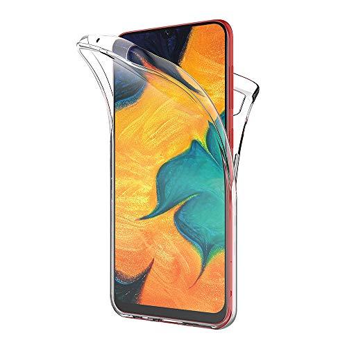 AICEK Compatible Samsung Galaxy A30 Hülle, 360°Full Body Transparent Silikon Schutzhülle für Samsung A30 Hülle Durchsichtige TPU Bumper Galaxy A30 Handyhülle (6,4 Zoll)