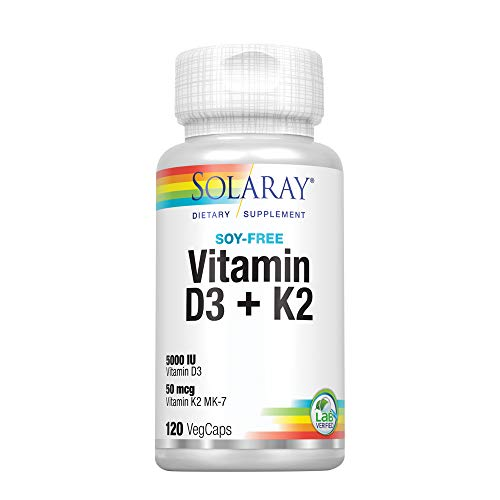 Solaray Vitamin D3 + K2 | 5000 Iu | 120 Vegcaps 120 Unidades 200 g