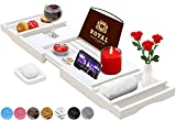 ROYAL CRAFT WOOD Bamboo Bathtub Caddy Tray with Wine and Book Holder - 1 or 2 Person Bath Tray with Extending Sides - Free Soap Dish - White