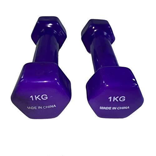 Natural Logistics Mancuernas de Vinilo (1 kg, Morado) | Mancuernas hexagonales de Goma para Pilates | Pesas Antideslizantes para Gimnasio en casa | Deporte en casa con Pesas. KOTTAO