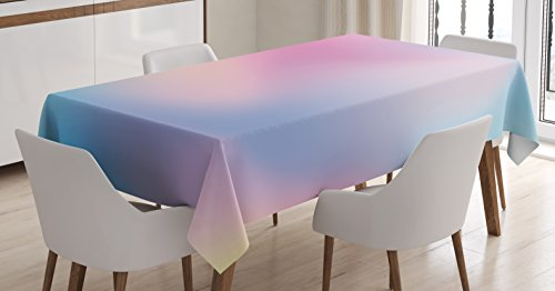 Ambesonne Pastel Tablecloth, Abstract Blurry Colors Composition Daydream Fantasy Miscellaneous, Dining Room Kitchen Rectangular Table Cover, 52' X 70', Pink Aqua
