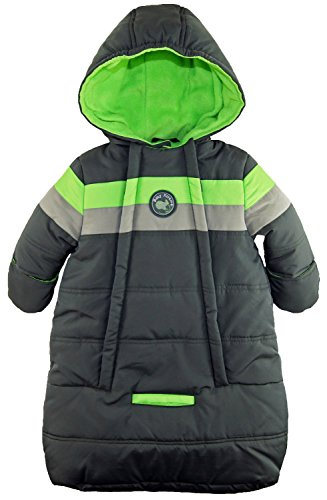 iXtreme Baby Boys Snowsuit Colorblock Stripes Puffer Carbag, Grey, 6-9 Months