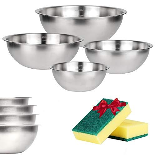 JUNING Cuencos cocina mezcladores apilables de acero inoxidable boles cocina set de 4 diámetro 19 cm, 23 cm, 26 cm, 29 cm
