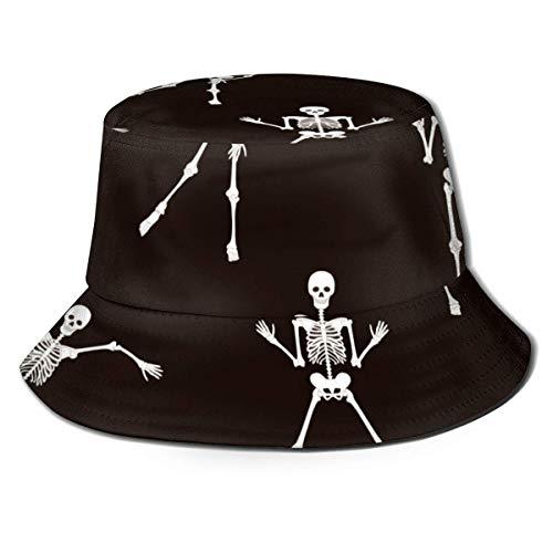SDFRG Tanzende Skelette Halloween People Bucket Hat Unisex Sonnenhut Fisherman Packable Trave Cap Fashion Outdoor-Hut