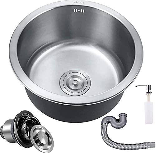 Coladores de cesta de acero inoxidable para fregadero de cocina, barra/baño, 15.7 pulgadas de diámetro de profundidad GDLQ fregadero único para montaje en superficie y empotrado