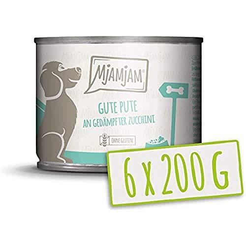MjAMjAM - Premium Nassfutter für Hunde - Gute Pute an gekochtem Reis mit gedämpfter Zucchini, 6er Pack (6 x 200 g), naturbelassen mit extra viel Fleisch