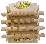 SF SAVINO FILIPPO Set 4 matterelli tagliapasta in Legno con Base appendibile da Muro per Pasta Spaghetti pappardelle tagliolini tagliatelle Decorato a Mano