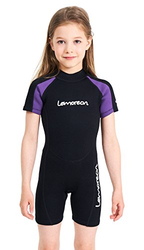Lemorecn - Muta da nuoto per bambini, in neoprene, 2 mm, Shorty Purple Trim, 4