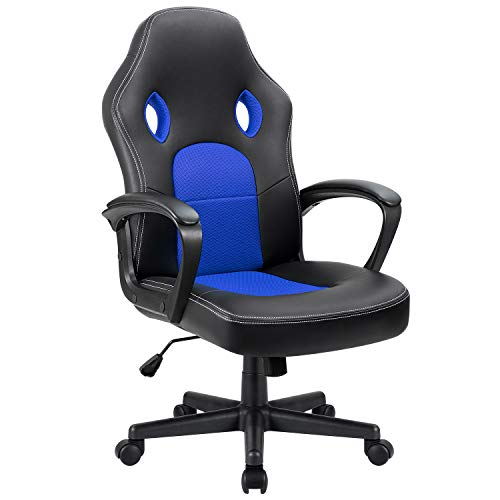 Furmax Office Chair Desk Leather Gaming Chair, High Back Ergonomic Adjustable Racing Chair,Task Swivel Executive Computer Chair Headrest and Lumbar Support (Blue) blue chair gaming
