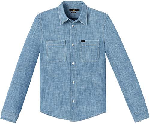Lee Western - Camisa de algodón con botones de manga larga, color azul