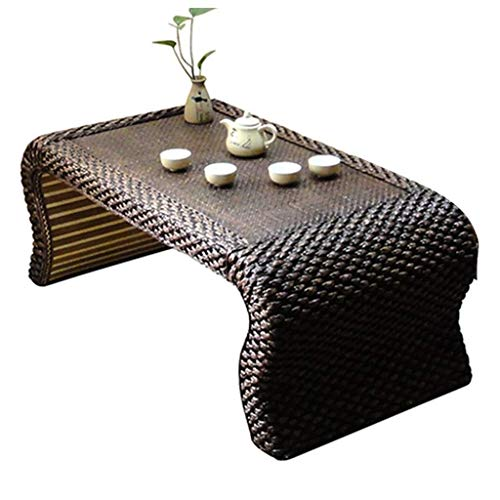Tabla té café Tabla Final mesa de mimbre de madera maciza mesa lateral pequeña sala de estar simples de la casa de madera sólida ventana de tabla (Color : Brown, Size : 60 * 30 * 50cm)