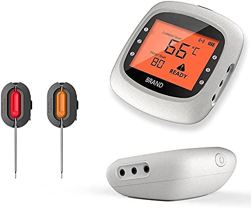TOPNIU Termómetro impermeable con Bluetooth para carne, con 2 sondas de temperatura, inteligente, inalámbrico, digital, para cocinar alimentos, barbacoa, para asar, termómetro para ahumar