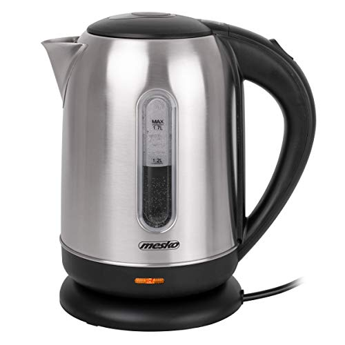 MESKO MS 1288 Wasserkocher aus Edelstahl, 2200 W, 1.7 L, elektrischer Teekocher für Tee, Automatische Abschaltung, Wasserstandsanzeige, 360 Grad, Kontrollleuchte, Teekessel