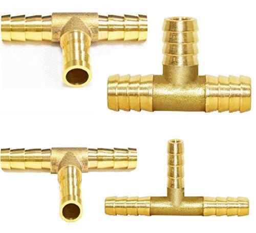 N/B T Schlauchverbinder T-Stücks 4Stk Messing T Verbindungsstück für Kraftstoff Luft Wasser Gasöl Fittings Rohrverbindungsstücke für Camping(6mm,8mm,10mm,12mm)