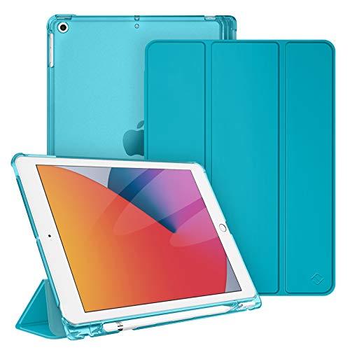 """Fintie Funda Compatible con iPad 10,2"""" (9.ª/8.ª/7.ª Gen) 2021/2020/2019 con Soporte Integrado para Pencil - Trasera Transparente Carcasa Ligera Auto-Reposo/Activación, Cian"""
