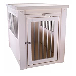 Contemporary End Table Pet Crate and Kennel with Stainless Steel Spindles – Includes Modhaus Living Pen (Medium, White)