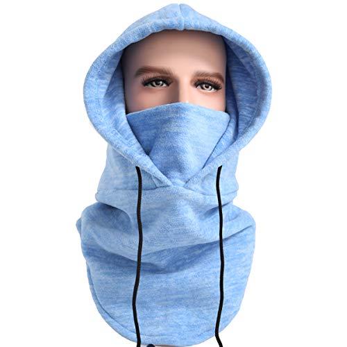 XINGZHE Balaclava Ski Mask Cold Weather Face Mask Neck Warmer Fleece Hood Winter Hats (Blue&White)