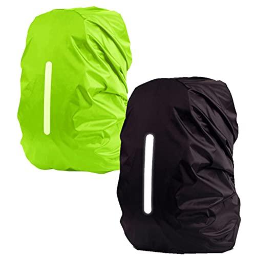 Conruich 2 pezzi zaino impermeabile zaino protezione impermeabile parapioggia borsa con strisce riflettenti copertura di sicurezza per escursionismo campeggio all'aperto ciclismo (30L-40L)
