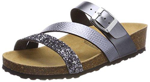 Lico Damen Natural Glitter Pantoletten, Grau (Anthrazit), 40 EU