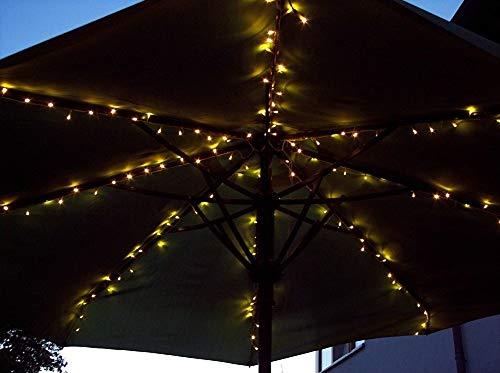 Sonnenschirm-Lichterkette 160er LEDs in warmweiß mit schwarzem Kabel/Zuleitung 7 meter / 31V Außentrafo