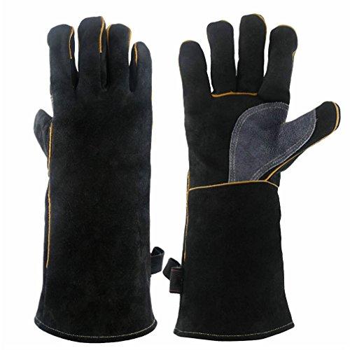 CCBETTER Grillhandschuhe Leder 16 Zoll Extra Lange Ärmel 932℉ Hitzefeste Handschuhe Schweißhandschuhe Schweißerhandschuhe Arbeitshandschuhe (Alles schwarz)