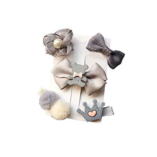Moonlight Star Couvre-Chef 24pcs / Set Barrettes Cartoon Bandeau Mignon Bow Fleur Épingle Barrettes Chapeaux Accessoires de Cheveux NO Box (Color : 5pc Gray)