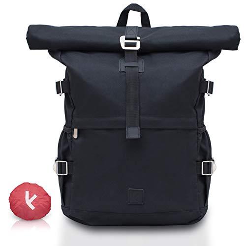 Kideno® Rolltop Rucksack - Mit Regenschutz, Damen & Herren - Dein Daypack für jeden Tag - Dein Rucksack mit Laptopfach & flexiblem Volumen - perfekt für die Schule, Universität oder zum Verreisen