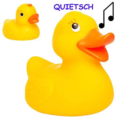 alles-meine.de GmbH 2 TLG. Quietsch Set -  Enten Familie  - 10 cm - große Schwimmtiere - ab Geburt - 0 Jahre ! - Quietschtier / Figur Quietschfigur - Schwimmtier - Badeenten - ..