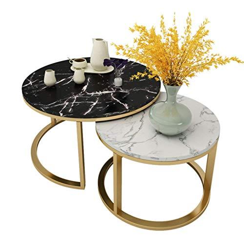 JXJ Mesas de café Mesas de café, mesas auxiliares de mármol, Tablero de mármol, Mesa Redonda, Mesa de té para Sala de Estar, Cocina y Oficina, Juego de 2