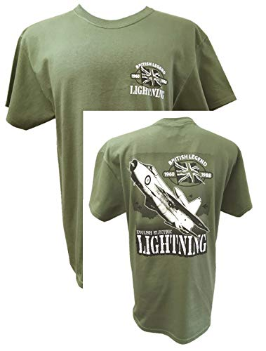 The Wooden Model Company Ltd English Electric Lightning RAF Interceptor Koude Oorlog Vliegtuigen - Green Action T Shirt Design.