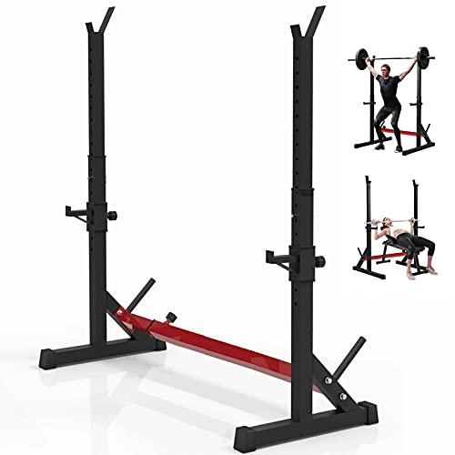 LI LIVHOOU Réglable Barre de Squat Musculation Cage de Squat,Squat Rack Haltérophilie Support Multifonction Support de Musculation Entrainement Charge 150 kg