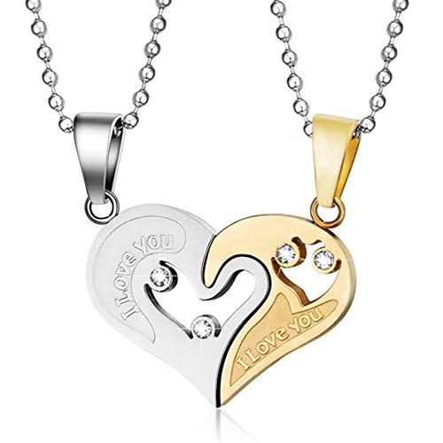 Makluce Motivational gifts, Unique Jewelry Couple Necklace Mens Womens Jewelry Gifts For Girls Mothers Birthday Christmas Valentine's Day Gifts (Metal Color : Gold color)