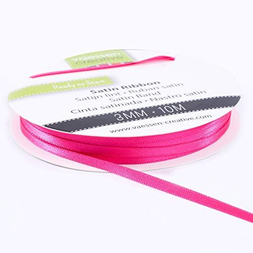 Vaessen Creative 301002-0007 Satinband Pink, 3 mm x 10 Meter, Schleifenband, Dekoband, Geschenkband & Stoffband für Hochzeit, Taufe & Geburtstagsgeschenke, 3MM