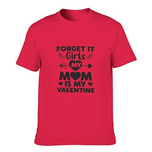 Camiseta de algodón para hombre, diseño de dibujos animados con texto 'Sorry Girls My Mom is My Valentine' Red1 XXXXL
