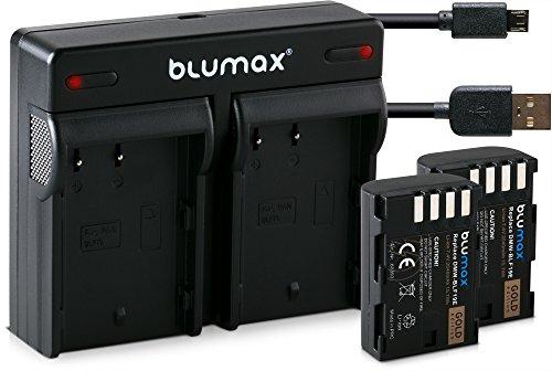 Blumax 2X Gold Edition Akku 2040mAh ersetzt Panasonic DMW-BLF19 / BLF19e + USB Mini Dual-Ladegerät kompatibel mit Panasonic Lumix DC GH5 DMC GH3 GH4 GH4R / Sigma BP-61