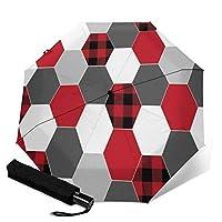 Buffalo Plaid Black And Red 自動三つ折り傘 ポータブル 自動オン/オフ 野外活動に適しています 折りたたみ傘 ワンタッチ メンズ 耐強風 超撥水 210t高強度グラスファイバー 晴雨兼用 二重構造