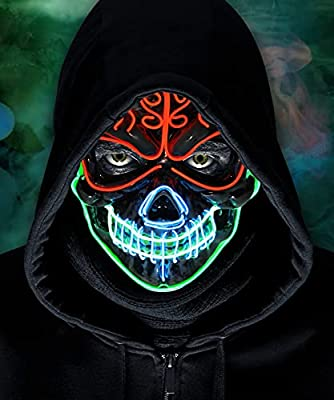 LED Halloween Mask, 2021 Upgraded Scary Halloween Light Up Mask With 3 Lighting Modes Scary Skull Shape Cosplay LED Costume Mask for Men Women Kids - Perfect For Halloween Festival Party by lenbest