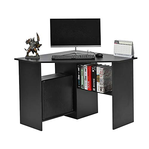 WEIBO Corner L-Shaped Home Office Computer Desk Computer Workstation PC Laptop Table with shelves Effect Home Office Furniture