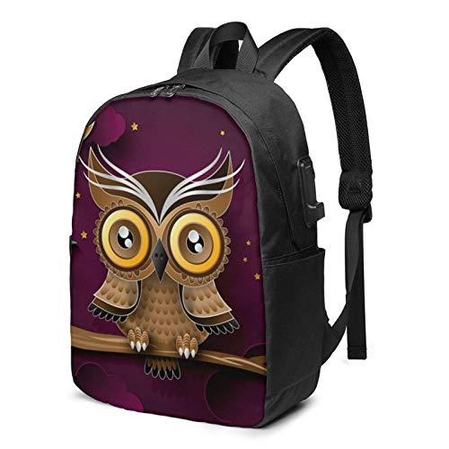 Travel Laptop Backpack, Cute Owl Branch Purple Moon Bird Night Travel Laptop Backpack College School Bag Casual Daypack with USB Charging Port