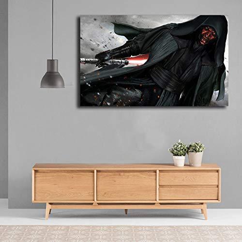 yhyxll Science-Fiction-Filme Darth Maul Hd Tapete Wandkunst Leinwand Poster Und Druck Leinwand Malerei Dekorative Bild Für Wohnzimmer Wohnkultur 60X90 cm
